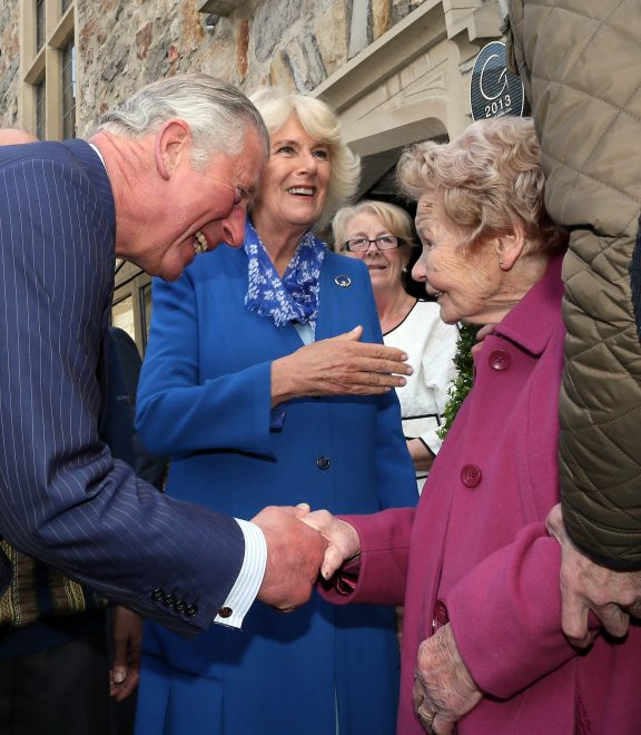 HRH Prince Charles meets Philomena Barry, 90, who was the housekeeper of his great-uncle Lord Mountbatten in Donegal Town.