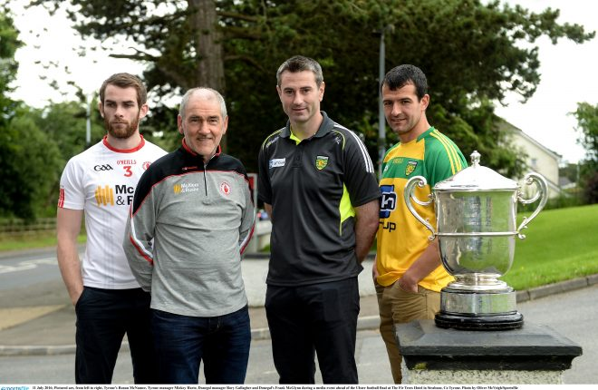 11 July 2016; Pictured are, from left to right, Tyrone's Ronan McNamee, Tyrone manager Mickey Harte, Donegal manager Rory Gallagher and Donegal's Frank McGlynn during a media event ahead of the Ulster football final at The Fir Trees Hotel in Strabane, Co Tyrone. Photo by Oliver McVeigh/Sportsfile