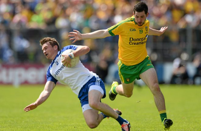 Mark McHugh in action against Dessie Mone in last year's Ulster Final. Picture credit: Oliver McVeigh / SPORTSFILE