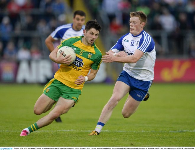 25 June 2016; Ryan McHugh of Donegal in action against Ryan McAnespie of Monaghan during the Ulster GAA Football Senior Championship Semi-Final game between Donegal and Monaghan at Kingspan Breffni Park in Cavan Photo by Oliver McVeigh/Sportsfile
