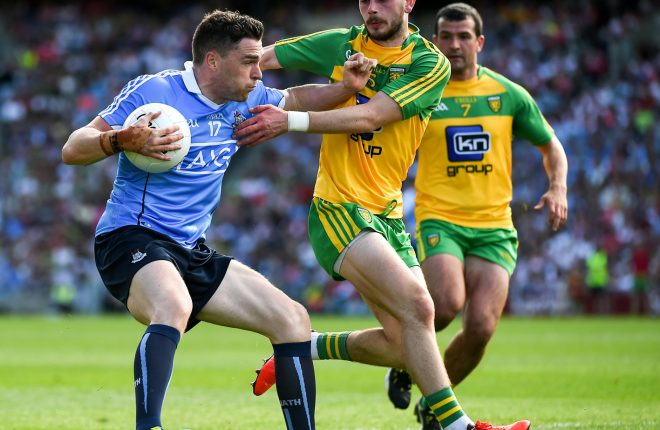 6 August 2016; Paddy Andrews of Dublin in action against Ryan McHugh of Donegal during the GAA Football All-Ireland Senior Championship Quarter-Final match between Dublin and Donegal at Croke Park last year. Photo by Ray McManus/Sportsfile