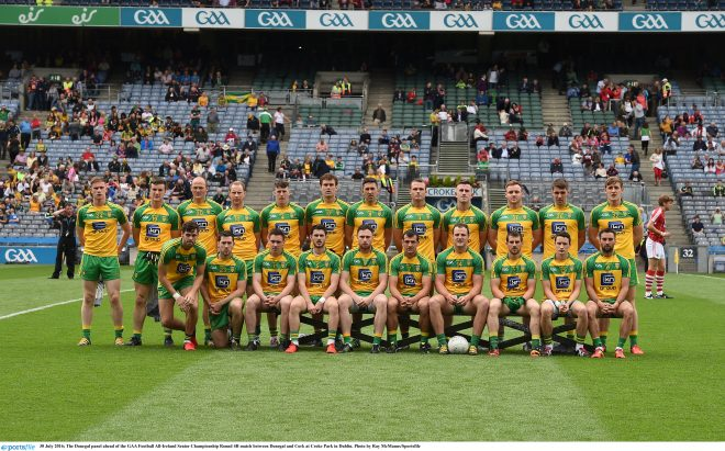 30 July 2016; The Donegal panel ahead of the GAA Football All-Ireland Senior Championship Round 4B match between Donegal and Cork at Croke Park in Dublin. Photo by Ray McManus/Sportsfile
