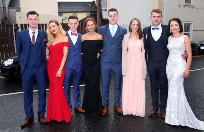 Gareth Ferry, Amy Griffin, Ryan Flynn, Saoirse Callaghan Herrity, MŽabh Rafferty, Shane Thompson, Stephen McMenamin and Edel McBride at the St Columba's College, Stranorlar Prom in Jackson's Hotel on Wednesday night.