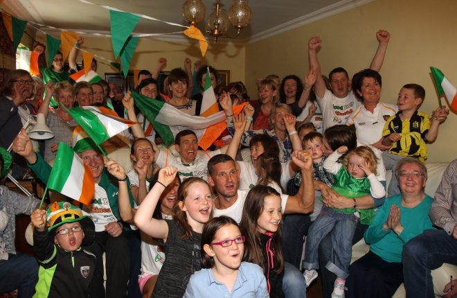 The Jennings family and friends watch Sinead Jenning (Lynch) and Claire Lambe in the Lightweight double sculls final from the family home in Letterkenny. Included are Sinead's parents Mick and Teresa, her sister Caitriona, fellow Olympian. Photo: Donna El Assaad
