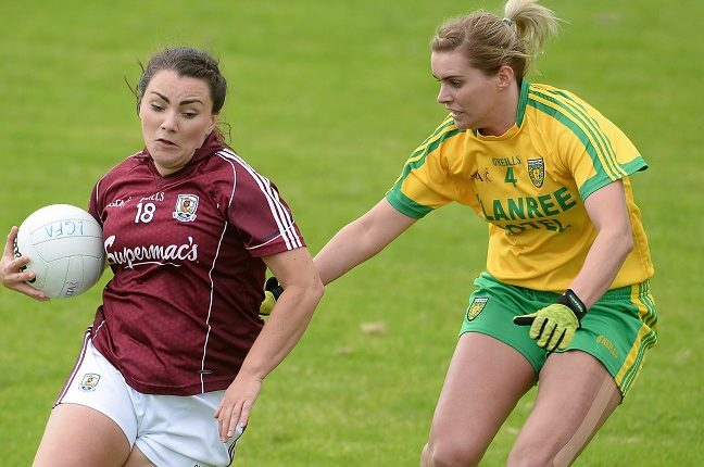 elly Wilson of Donegal in action against Galway's Gillian O'Connor during the TG4 Ladies Football All-Ireland Senior Championship Qualifiers match between Galway and Donegal at Glennon Brothers Pearse Park in Longford. Photo by Eóin Noonan/Sportsfile