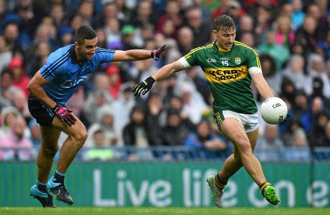 20 September 2015; James O'Donoghue, Kerry, in action against James McCarthy, Dublin. GAA Football All-Ireland Senior Championship Final, Dublin v Kerry, Croke Park, Dublin. Picture credit: Ramsey Cardy / SPORTSFILE