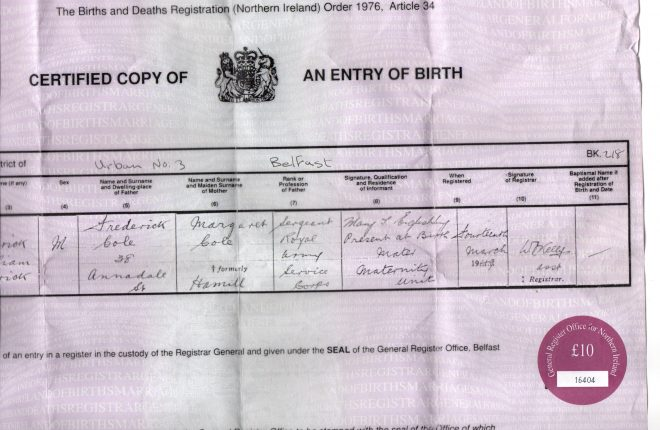 The original birth certificate of John Harkness.