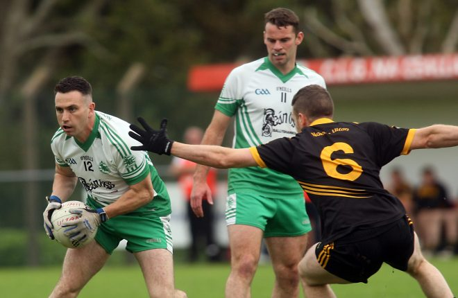 Diarmuid McInerney in possession for Aodh Ruadh against Dermot Gallier of Naomh Ultan during the Intermediate Championship in Fintra on Saturday.