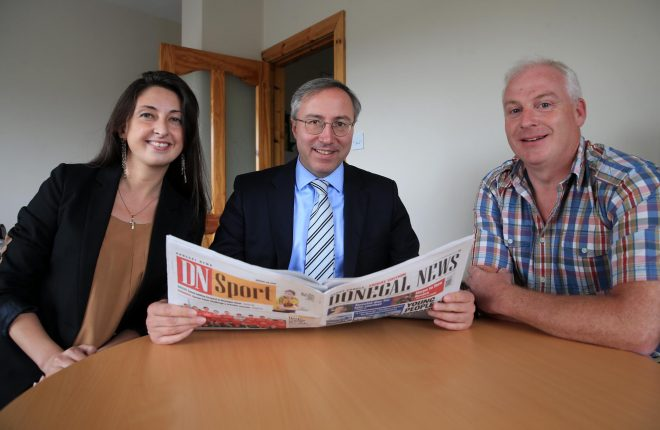 Charge dÕAffaires of Georgia Mr. George Zurabashvili during a visit to the Donegal News office with Ana Lominadze, Counsellor, Embassy of Georgia and Harry Walsh, deputy editor, Donegal News.