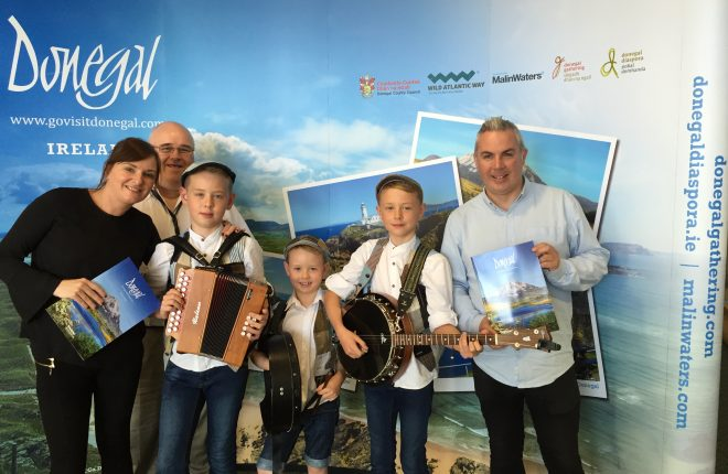 Pictured, from left, to right are, Sarah  Meehan, Barney Mclaughlin, Donegal Tourism, Luca Dempsey, Finn Byrne and Shane Smyth, Donegal Tourism.