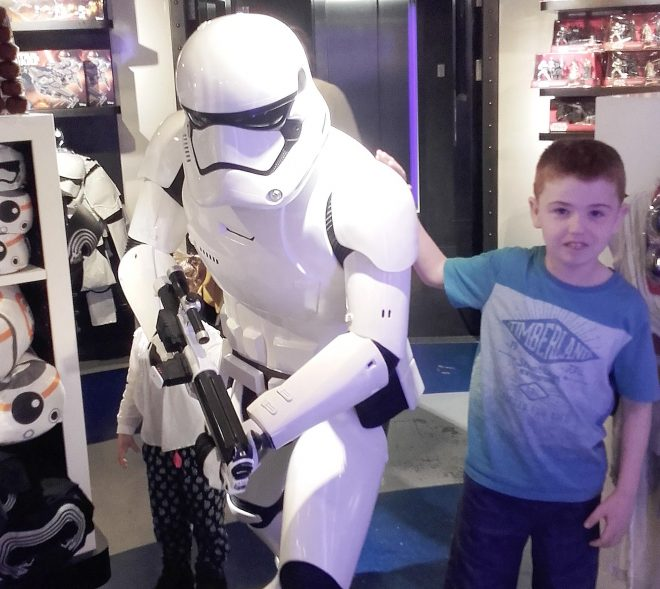 Matthew Doherty with a Stormtrooper.