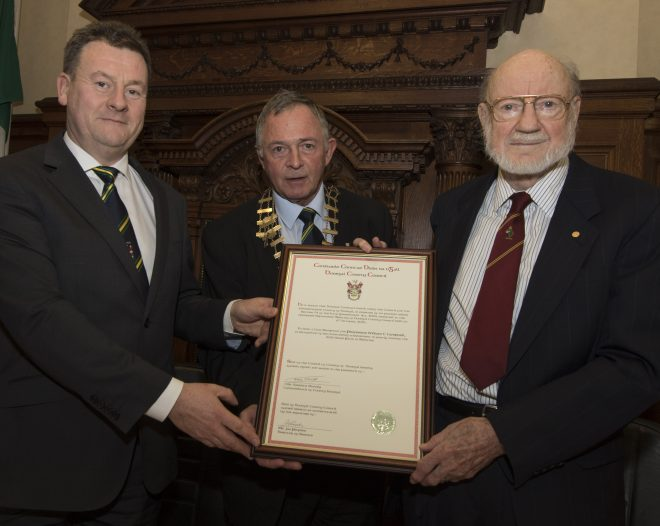 Mayor of Donegal Cllr Terence Slowey making a presentation to Nobel Prize winner Prof William Campbell during a Civic Reception in his honour at the Chambers in Lifford.  Also in photo is Donegal Co Council CEO Seamus Neely.  (North West Newspix)