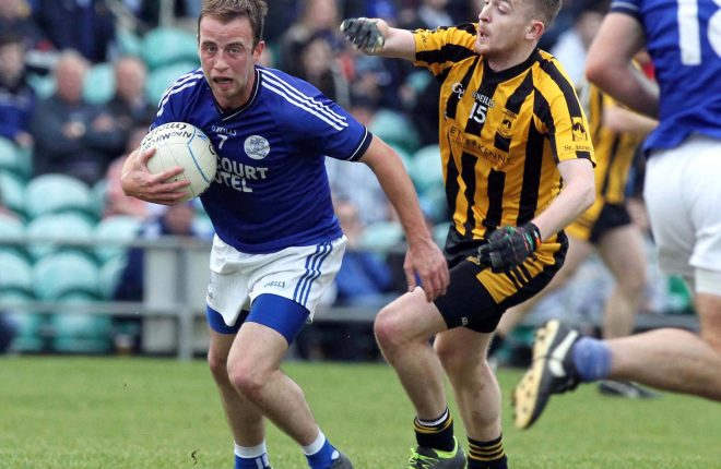Eoin Waide, Naomh Conaill in action against Lee McMonagle of St Eunan's in last year's county final