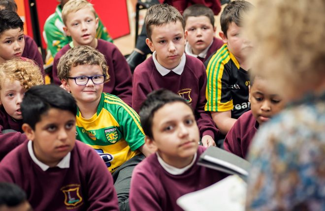 Children from Mrs. DalyÕs class in St Colmcille Boys School in Letterkenny during story time at the launch of Wainfest 2016 on Friday 23 September in the Central Library.