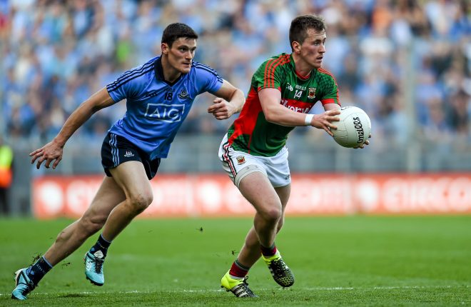 Cillian O'Connor, Mayo, in action against Diarmuid Connolly last year