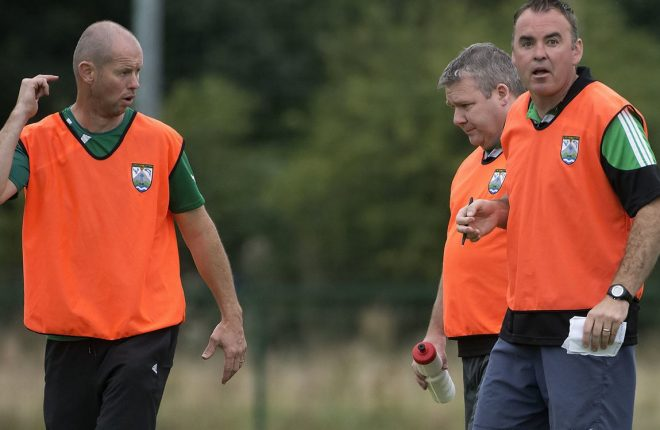 Gaoth Dobhair's Conal Sheridan (right) and his management team.