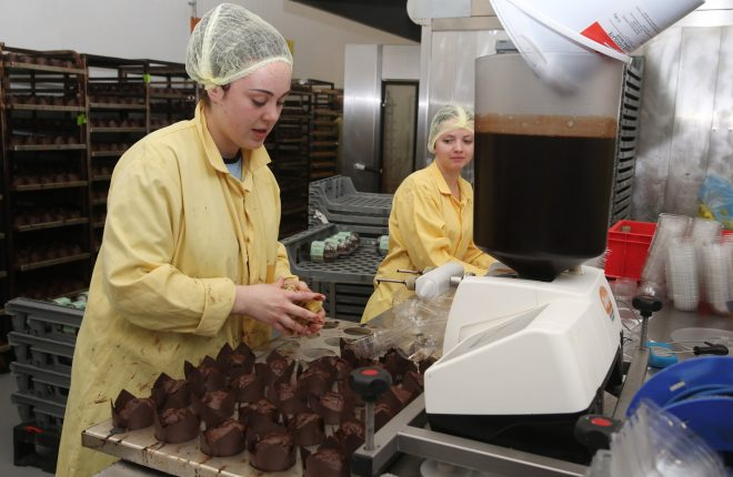 Staff busy in the bakery.