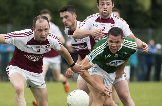 Termon's Kevin McElwaine keeps a close eye on Gaoth Dobhair's Kevin Cassidy in a recent championship match. Newly retired from Gaoth Dobhair, Kevin Cassidy give his views on the club's disappointing season.
