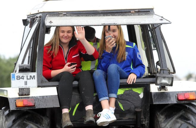 Girls enjoying the Tractor Run on Saturday morning, raising funds for the Good and New Cancer Charity.