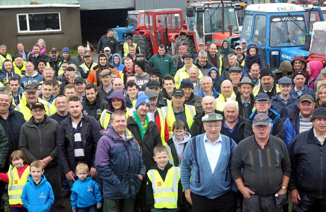 Some of the large group of participanst who took part in the Alan Wylie Tractor Run on Saturday for the Good and New Cancer Charity.