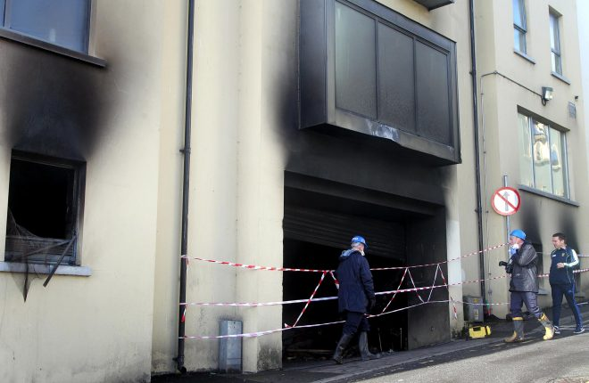 Garda forensics investigating the fire in the carpark, Rosemount Lane. Photo: Donna El Assaad