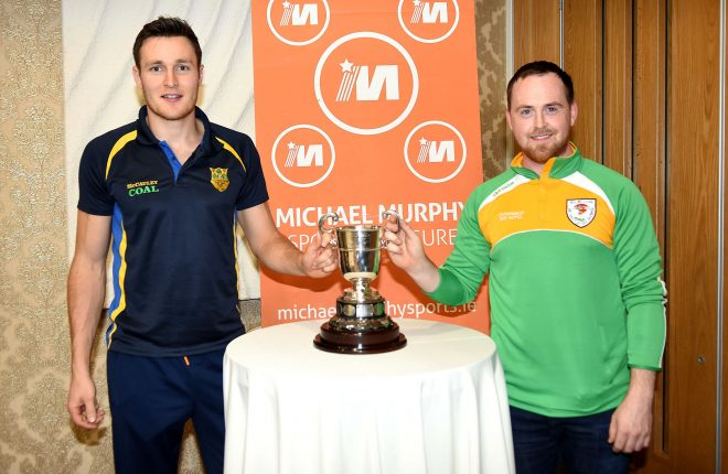 Clg Naomh Padraig's Colm Mc Colgan with Downings Colm Gallagher at the Press night held recently at Villa Rose Hotel.