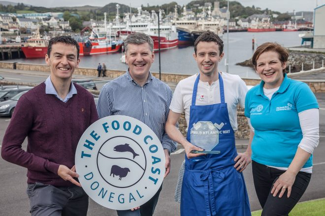 Chef Chris Molloy of The Lemon Tree Restaurant was crowned Donegal Chowder Champion at the recent county Chowder Cook-Off in Killybegs and will now to go on to represent Donegal at the 7th annual All-Ireland Chowder Cook-Off in Kinsale early next year. Pictured is Chris Molloy with (l-r) Michael Gallagher, BIM, Sean Duffy, Tourism College Killybegs and Eve-Anne McCarron, Local Enterprise Office, Donegal County Council and 'The Food Coast – Donegal's Good Food Initiative