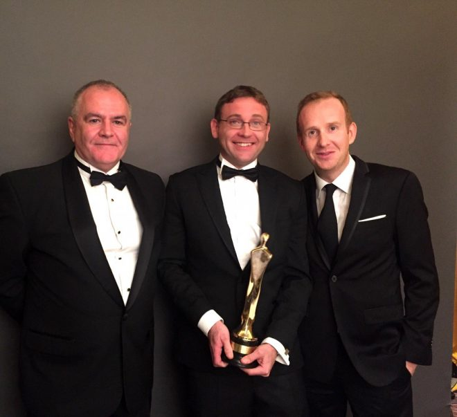 Paul Maguire, Editor of RTE Investigations Unit, Conor Ryan, reporter, and John Cunningham, producer, with their IFTA award.