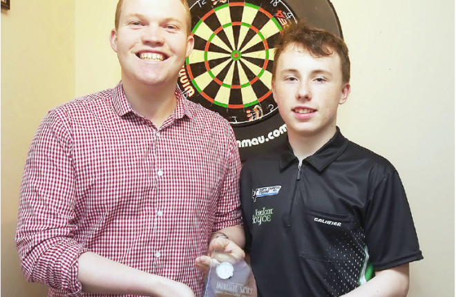 Ryan Ferry, Donegal News Sports Reporter presents Darts Player Jordan Boyce with the January 2016 Donegal News Sports Personailty Award.