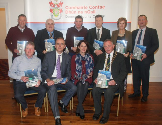 Pictured at the launch on Monday evening of the new Killybegs Harbour Brochure are back row l to r: Jim Parkinson, Sinbad Marine, Barney McLaughlin, Donegal County Council, Eugene McBrearty, Killybegs Business Focus Group, Seamus Neely, Chief Executive Donegal County Council, Caroline Britton and Liam Ward, Donegal County Council Front Row l to r Cllr. Noel Jordan, Minister Joe McHugh, Cllr. Niamh Kennedy and Cathaoirleach of Donegal County Council, Cllr. Terence Slowey