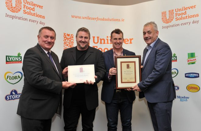 Pictured, from left, are Mr McCarthy, Unilever, Karl Murtagh, Head Chef, Silver Tassie Hotel, Nigel Owens, Welsh Rugby Referee and Ciaran Blaney, owner, Silver Tassie Hotel and Spa.