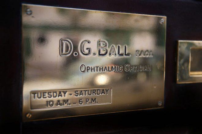 The brass plate on the Main Street practice of David Geoffrey Ball.