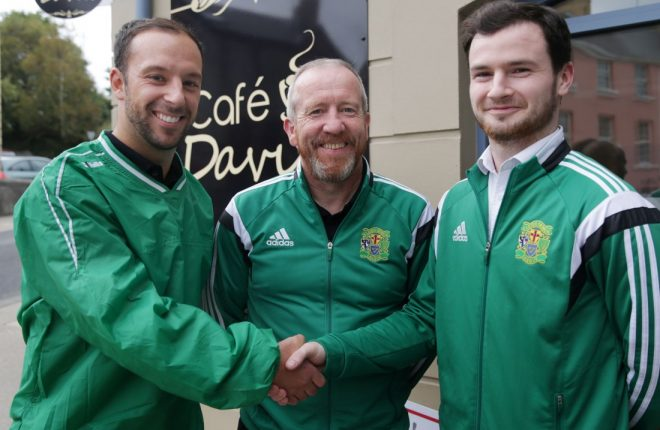 Davitt Walsh (left), with USL manager Peter Moran, and team captain, Peter Doherty