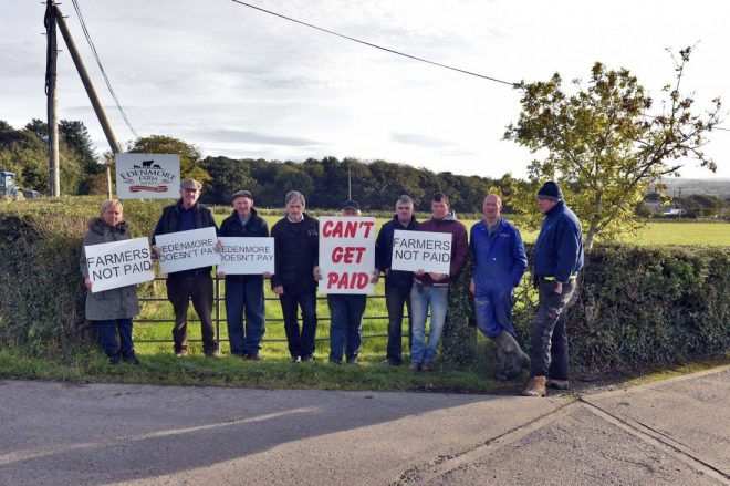 Farmers protesting outside the premises two weeks ago.