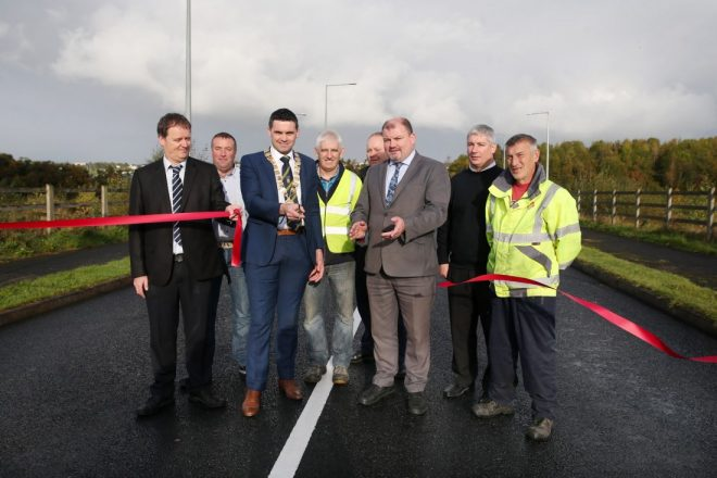 Mayor of the Letterkenny Municipal District, Cllr James Pat McDaid, opens the new road.