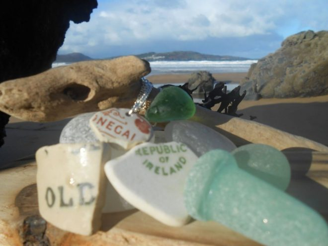Some of the pottery and seaglass salvaged from the ocean that Helen uses to make the distinctively Donegal pieces.