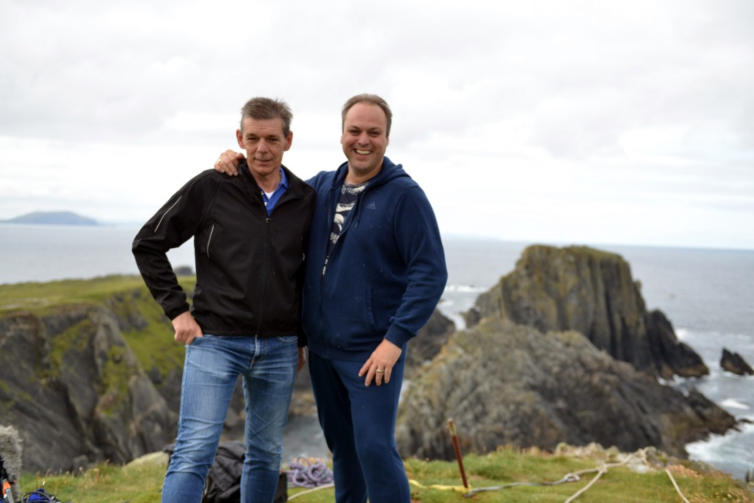 Brothers and presenters Frans and Dorus Bauer, during filming at Malin Head.