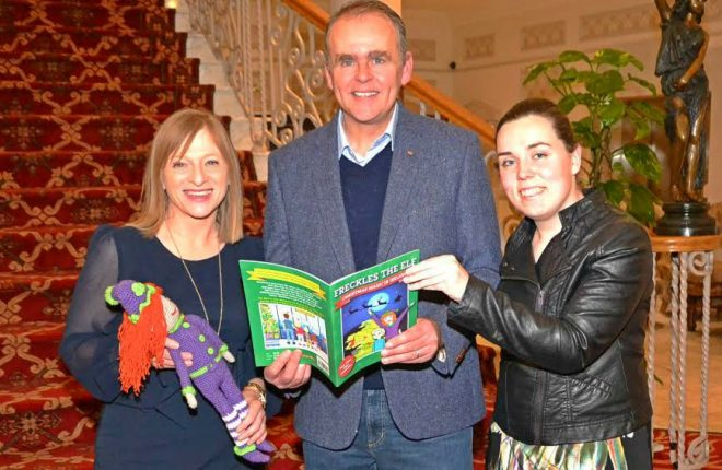 evelyn-mc-glynn-author-joe-mc-hugh-minister-for-the-diaspora-and-jenny-yourell-illustrator-of-freckles-the-elf-christmas-magic-in-ireland-book