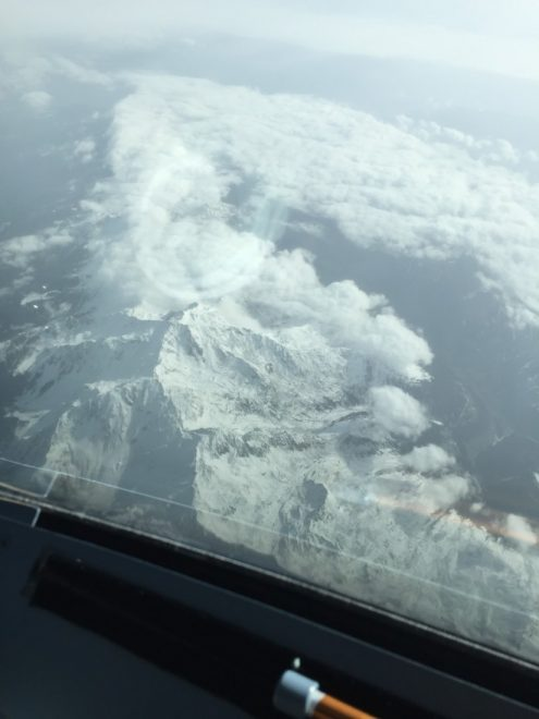 A picture taken from the Aer Lingus cockpit over the Alps on the way to Venice.