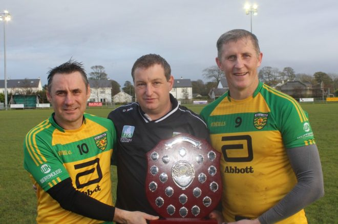 Donegal manager John McNulty with Paul and Charlie Gallagher