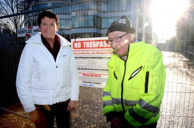 Brendan Gildea and his wife Tessie outside the disputed 'Kube' building. Pic by Declan Doherty.