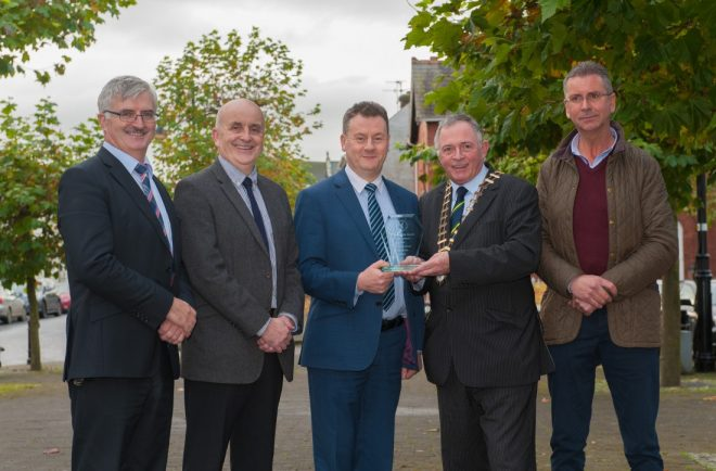 "Donegal County Council has been named as the winner for the ""Road Safety Award 2016"" in the Excellence in Business Awards by the Public Sector Magazine.  Pictured receiving the award is  l to r: John McLaughlin, Director of Roads; Brian O'Donnell, Road Safety Officer; Seamus Neely, Chief Executive; Cllr Terence Slowey, Cathaoirleach; and Cllr. John Ryan, Chair of the Roads & Transportation Strategic Policy Committee."