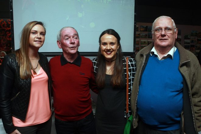 Irish soccer internationals Julie Ann Herrity and Ciara Grant with Charlie Shiels and Andy O'Boyle at the Ballyraine FC reunion.