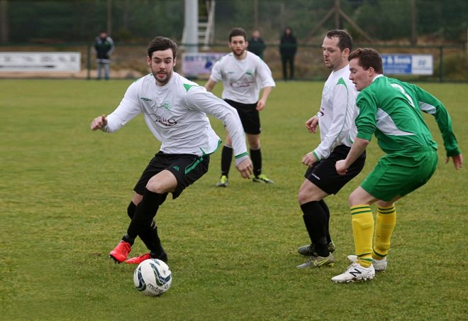 Odhran MacNiallais in action during Gweedore Celtic's 3-1 win over local rivals Gweedore United at An Screaban on Sunday afternoon.