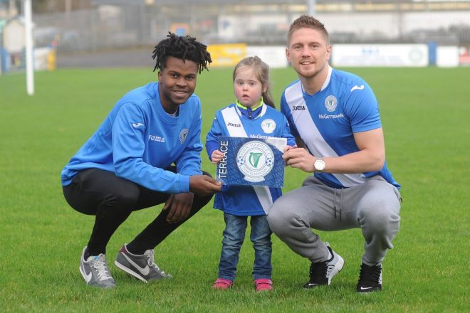 Striker BJ Banda and Donegal boxing hero Jason Quigley pictured alongside Harps supporter Sarah Bradley are asking the Northwest public to get behind the Harps as club continues its preparations and fundraising campaign ahead of the new season. Photo by Gerard McHugh
