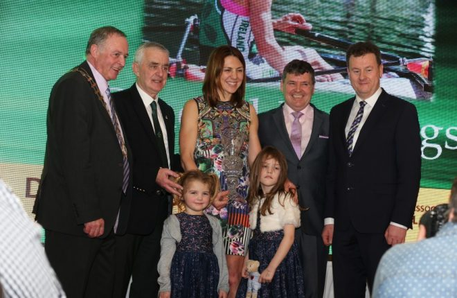 Sinead Jennings collects the Overall Donegal Sports Star of the Year award for 2016