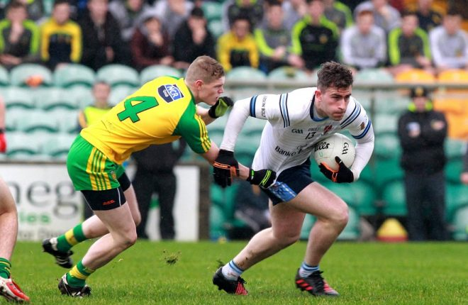 Patrick McBrearty (UUJ) on the ball against Donegal's Conor Morrison