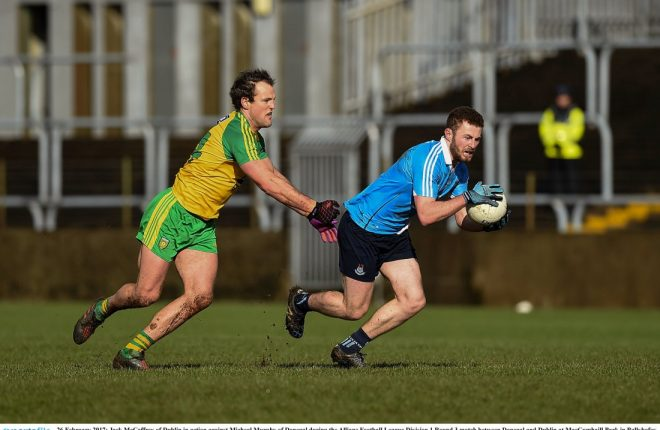 Jack McCaffrey in action against Michael Murphy in Sunday's match