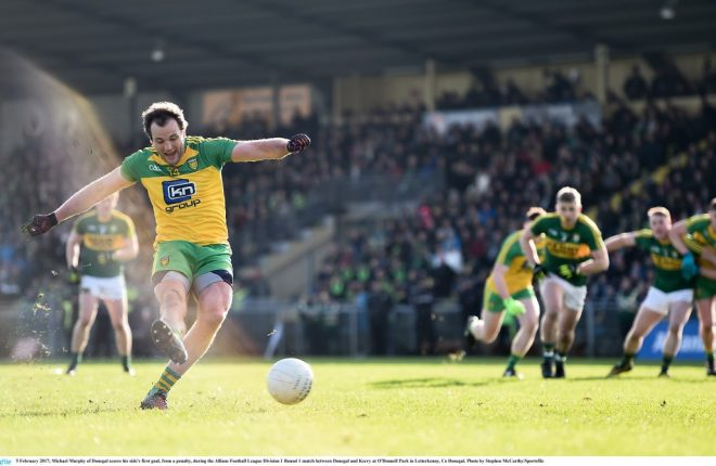 Michael Murphy converts a penalty against Kerry