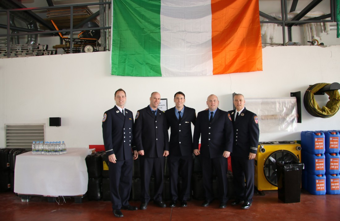 Photo caption:  New York Firefighters visiting Letterkenny Fire Station during their visit to Donegal in April 2016